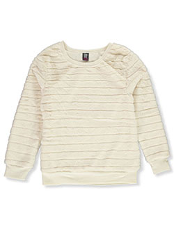 Girls' Plush Stripe Sweatshirt by Star Ride in Ivory