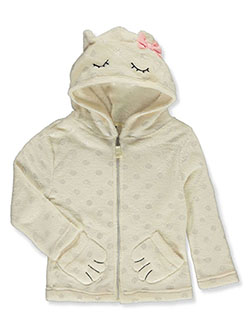 Girls' Bear Plush Zip Hoodie by Star Ride in ivory, pink and purple