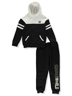 Change the World 2-Piece Sweatsuit Outfit by Sweet Butterfly in Black multi