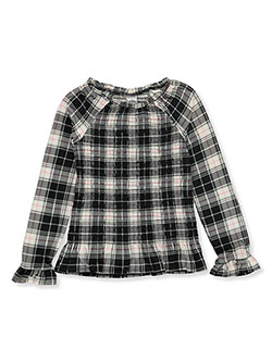Girls' Shirred Plaid Top by Wallflower in black multi and pink/multi