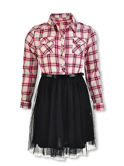 Girls' Plaid & Tulle Belted Dress by Sweet Butterfly in Assorted
