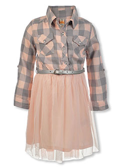 Girls' Check Top Belted Dress by Sweet Butterfly in assorted and pearl