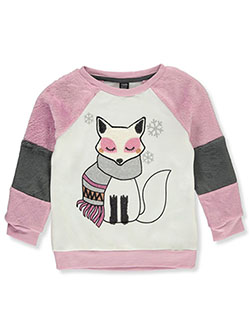 Girls' Plush Fox Sweatshirt by Star Ride in Ivory/multi