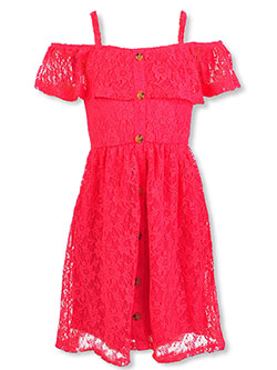 Girls' Lace & Ruffle Dress by Star Ride in fuchsia and ivory