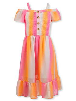 Girls' Watercolor Stripe Dress by Star Ride in pink and turquoise