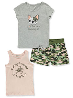 3-Piece Shorts Set Outfit by Sweet Butterfly
