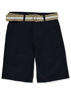 Boys' Belted Flat Front Shorts by Hawk in Navy