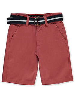 Boys' Belted Flat Front Shorts by Hawk in Red