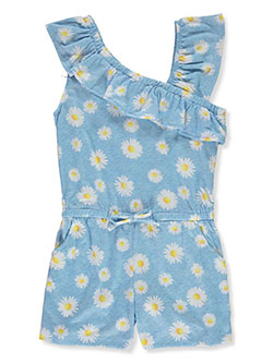 Girls' Daisy Romper by Sweet Butterfly in blue/multi and pink/multi