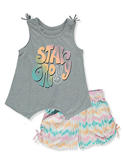 Girls' 2-Piece Shorts Set Outfit by Sweet Butterfly in green/multi and navy/multi, Girls Fashion