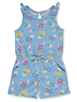 Girls' Floral Knit Romper by Sweet Butterfly in blue/multi and gray multi