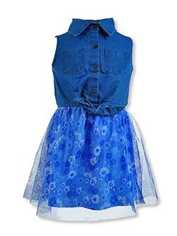 Sweet Butterfly Girls' 2-Pack Rainbow Dresses by Star Wear in Medium wash, Sizes 7-16