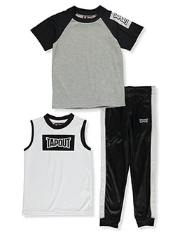 Boys' Box Logo 3-Piece Joggers Set Outfit by Tapout in Midnight