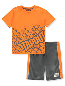 Boys' Cage 2-Piece Shorts Set Outfit by Tapout in Neon orange