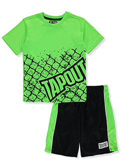 Boys' Cage 2-Piece Shorts Set Outfit by Tapout in Neon green