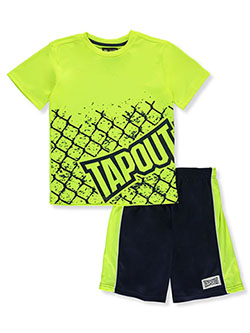 Boys' Cage 2-Piece Shorts Set Outfit by Tapout in Neon yellow