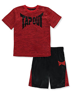 Classic Logo 2-Piece Shorts Set Outfit by Tapout in Red