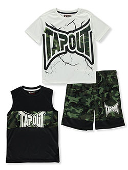 Boys' 3-Piece Shorts Set Outfit by Tapout in Green camo