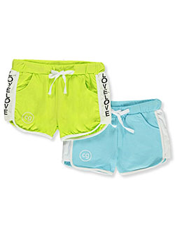 Girls' Awesome 2-Pack Athletic Shorts by Cover Girl in aqua/multi, fuchsia/multi and white/multi