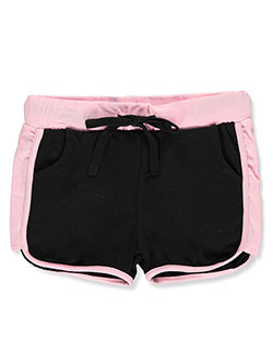 Girls' Paneled Dolphin Athletic Shorts by Cover Girl in black/pink and white/multi
