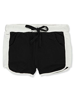 Girls' Paneled Dolphin Athletic Shorts by Cover Girl in Black/pink