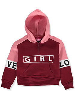 Girls' Bold Text Zip Neck Hoodie by Joyce Concept in burgundy, light gray heather, mauve and olive