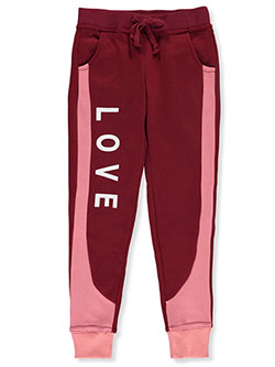 Girls' Love Panel Joggers by Joyce Concept in burgundy, light gray heather, mauve and olive