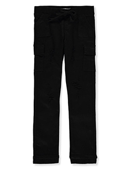 Girls' Twill Cargo Pants by Teen Gs in black and fuchsia