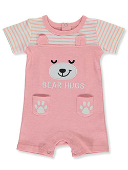Baby Girls' Bear Hugs Romper by Funny Bunny in coral and pink