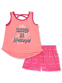 Raised by Unicorns 2-Piece Shorts Set Outfit by Diva in coral/multi and fuchsia/multi, Girls Fashion