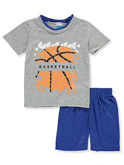 Boys' Basketball Mosaic 2-Piece Pajamas by Tuff Guys in gray multi and red/multi - $3.99