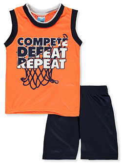 Boys' Sleeveless Compete 2-Piece Pajamas by Tuff Guys in neon orange and royal blue multi, Infants