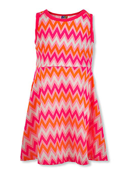 Girls' Zigzag Print Sleeveless Dress by Angel Face in pink/multi and purple/multi, Girls Fashion