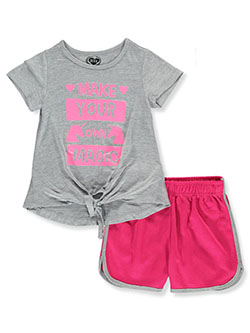 Make Your Own Unicorn Magic 2-Piece Shorts Set Outfit by Diva in Gray multi, Girls Fashion