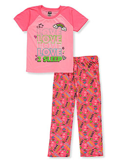 Girls' Love 2 Sleep 2-Piece Pajamas by Angel Face in neon pink and purple/multi, Girls Fashion