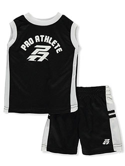 PA Logo 2-Piece Shorts Set Outfit by Pro Athlete in Black multi, Infants