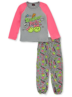 Angel Face Girls' Slumber Party 2-Piece Pajamas by Tuff in gray multi and neon pink multi, Girls Fashion