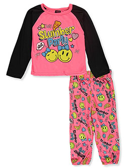 Angel Face Slumber Party 2-Piece Pajamas by Tuff in black and neon pink, Infants