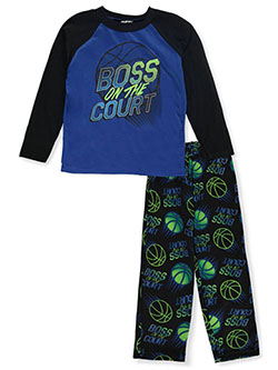 Boys' Boss on the Court 2-Piece Pajamas by Tuff Guys in black multi and navy/multi, Boys Fashion