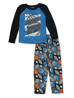 Boys' Hustle All Day 2-Piece Pajamas by Tuff Guys in black multi and navy/multi, Boys Fashion