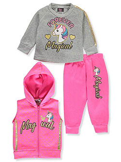 Unicorn 3-Piece Sweatsuit Outfit by Angel Face in neon pink multi and pink/multi