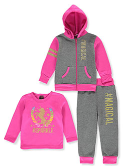 #Magical 3-Piece Sweatsuit Outfit by Angel Face in gray multi and neon pink multi, Infants