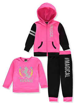 #Magical 3-Piece Sweatsuit Outfit by Angel Face in gray multi and neon pink multi