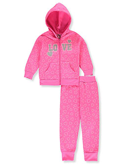 Baby Girls' Love 2-Piece Sweatsuit Outfit by Diva in ivory/multi and neon pink multi