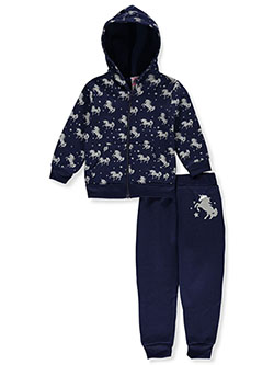 Baby Girls' Unicorn 2-Piece Sweatsuit Outfit by Diva in Navy/multi