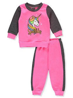 Sparkles 2-Piece Sweatsuit Outfit by Angel Face in gray multi and neon pink multi
