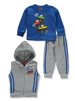 Monster Trucks 3-Piece Sweatsuit Outfit by Tuff Guys in Gray multi