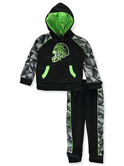 Football Helmet 2-Piece Sweatsuit Outfit by Pro Athlete in black multi and royal/multi, Infants