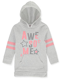 Baby Girls' Awesome Hooded Fleece Dress by Diva in gray multi and neon pink multi