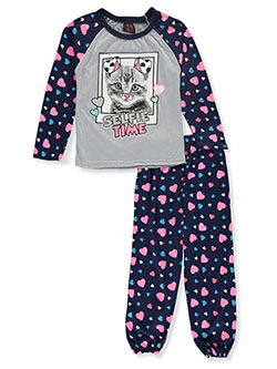 Girls' Cat Selfie 2-Piece Pajamas by Angel Face in navy/multi and pink/multi